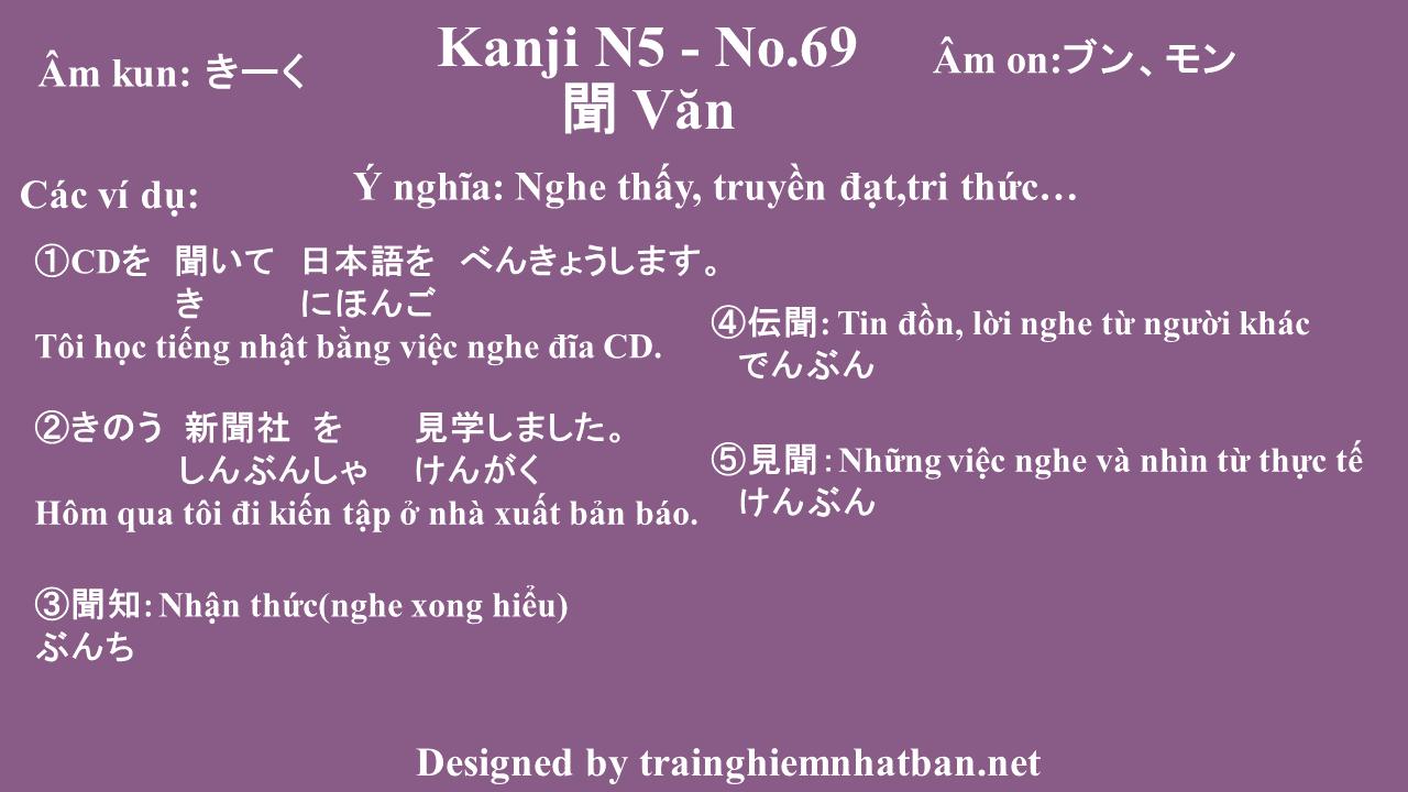 Kanji n5 chữ Văn 聞 - No.69