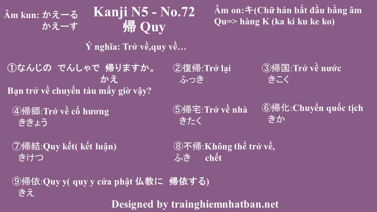 Kanji n5 chữ Quy 帰 - No.72