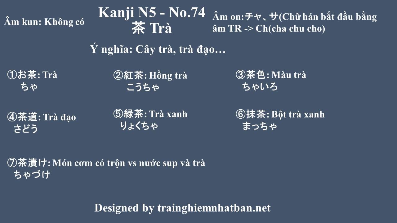 Kanji n5 chữ Trà 茶 - No.74